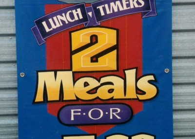 'Lunch Timers' hand painted banner