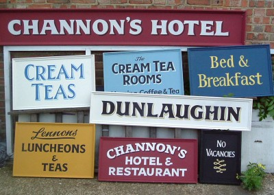 A selection of hand painted signs for 'Miss Marple' ITV 2006