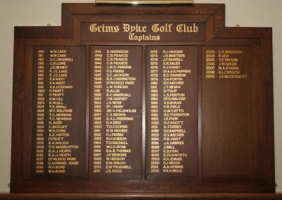 Oak honours board with signwriting in gold leaf for Grims Dyke Gold Club