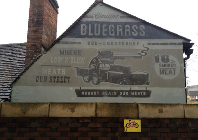 Exterior aged wall lettering Bluegrass Smokehouse, Reading, Berkshire