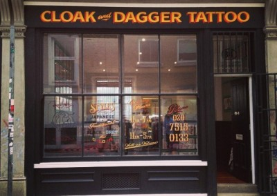 Painted fascia at Cloak and Dagger Tattoo, London