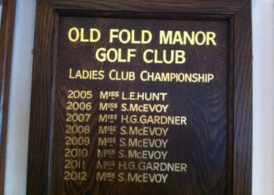 Oak honours board with hand lettering in gold leaf