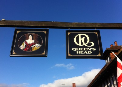 Hand painted swing pub signs, Queens Head Pinner