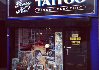Painted shop signs for Gung Ho! Tattoo in Birmingham