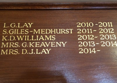 Gold leaf honours boards