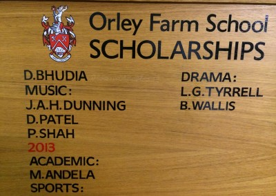 Parley Farm School Hand lettered honours board