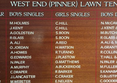 Hand lettered honours board, Pinner Lawn Tennis Club