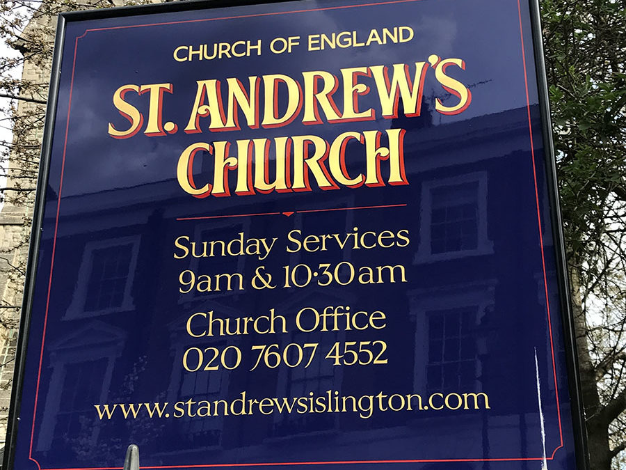 St. Andrew's Church– handpainted church signs