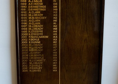 Gold leaf oak honours boards for Old Fold Manor golf club
