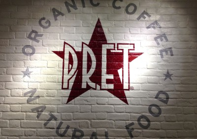 Signwritten wall at Pret A Manger
